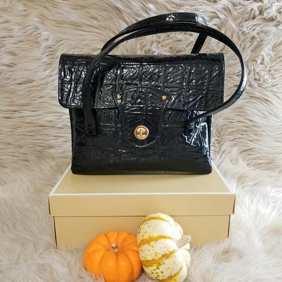 Vintage Handbags - 1980's Patent Leather purse black